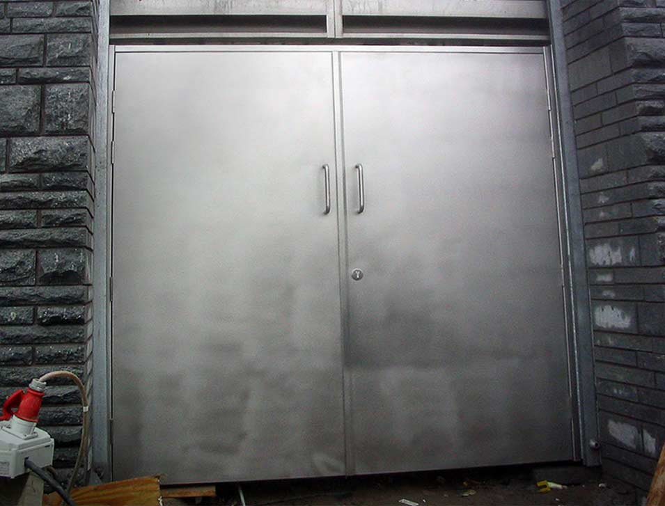 steel security door in grey