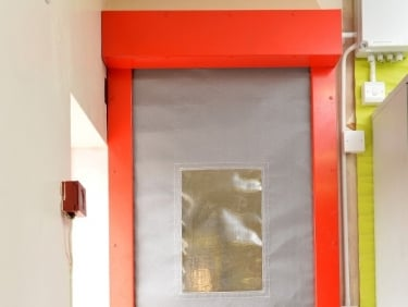 Fire curtain with red surrounds