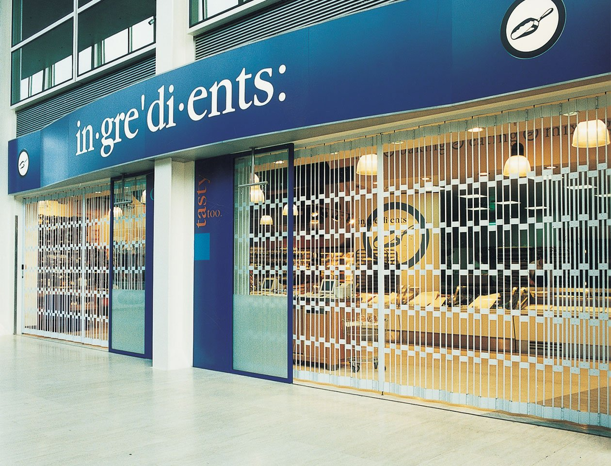 sliding security grille used at shopfront
