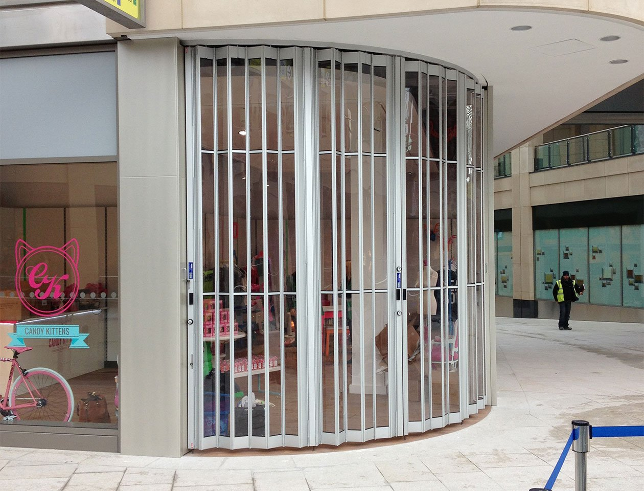 folding sliding shutters in situ at candy kittens shop