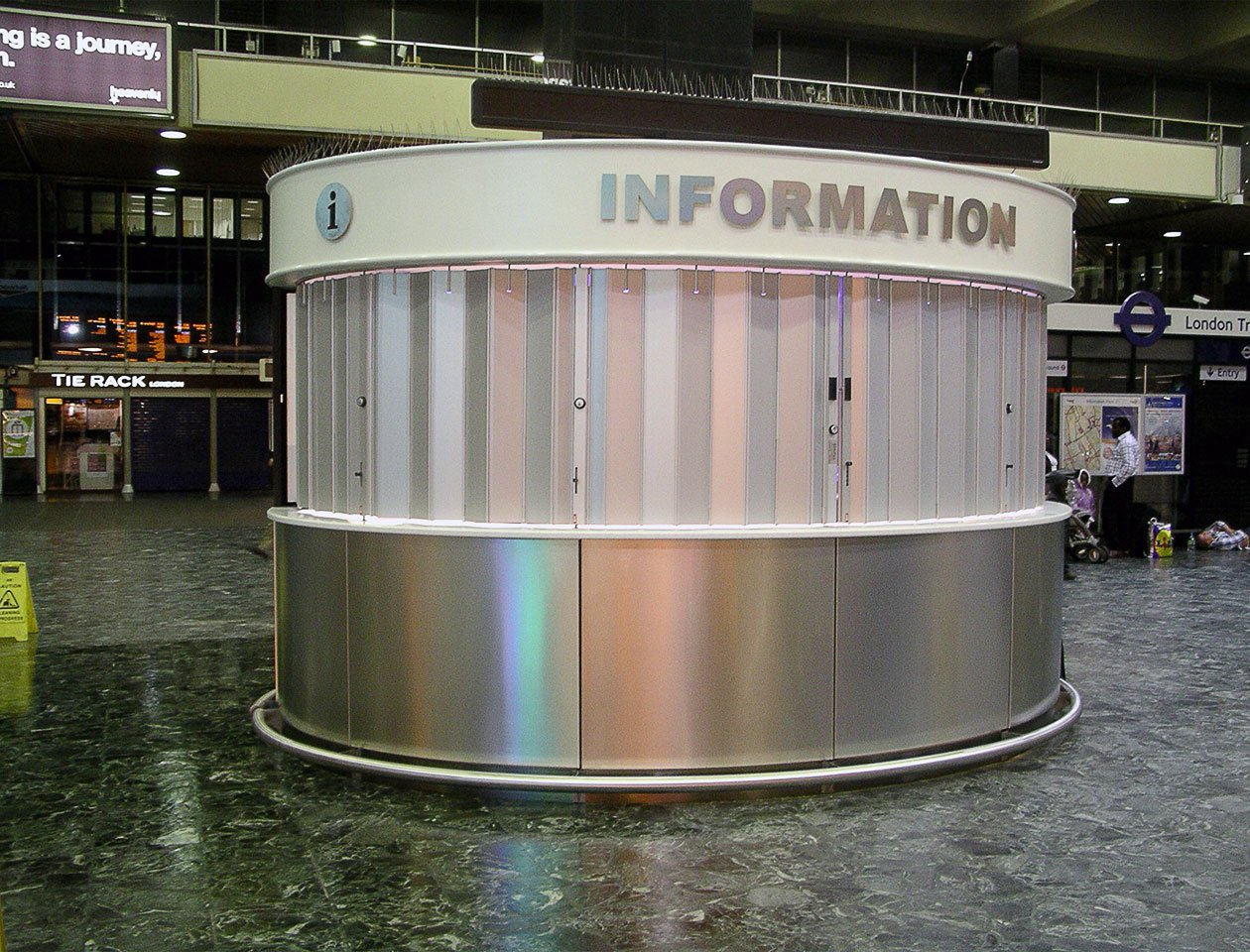 Ali Glyde aluminium sliding shutter in place at an information booth