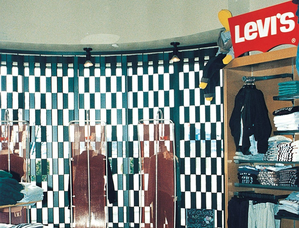 sliding folding grille used at a Levis shop