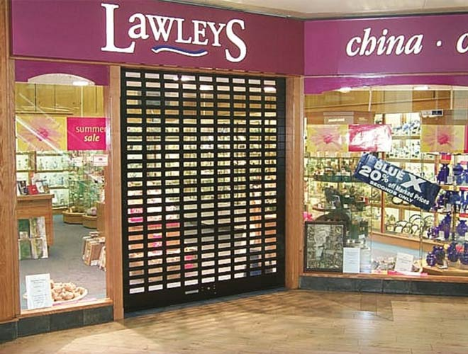alishield-n3 roller shutter door used at Lawleys shopfront