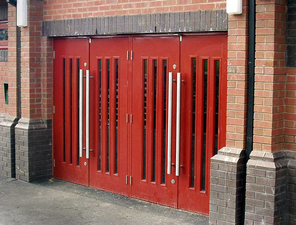 communal entrance steel security doors with red finish