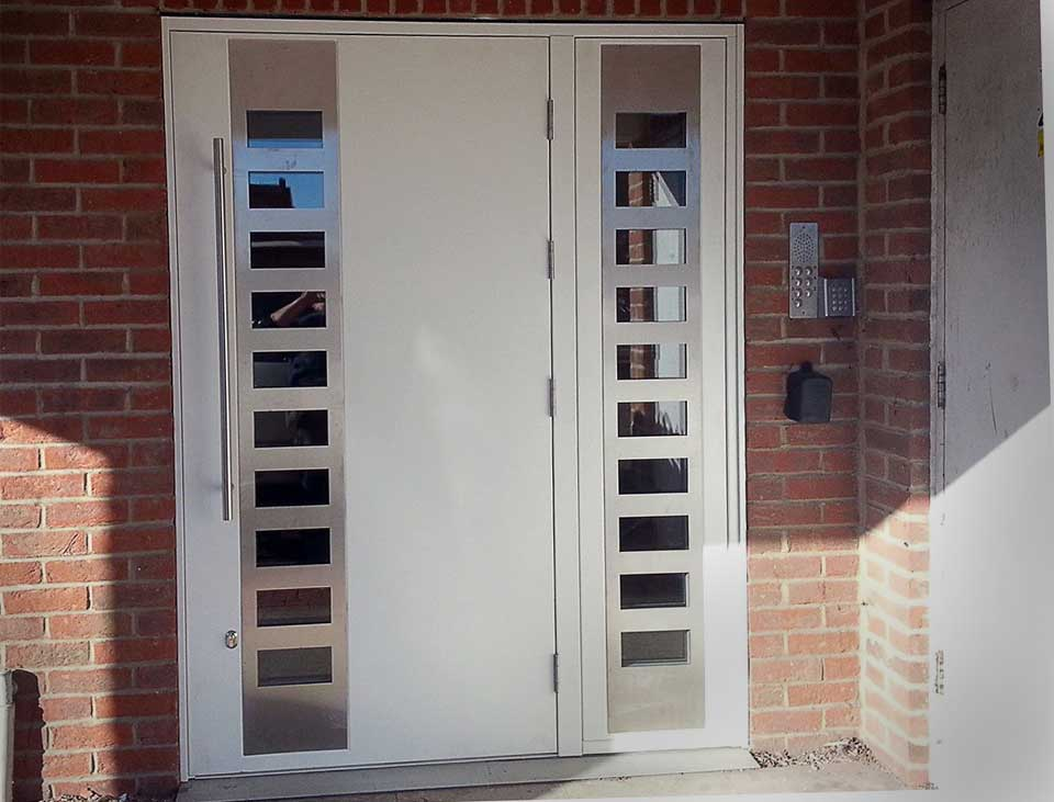 external communal entrance steel security doors