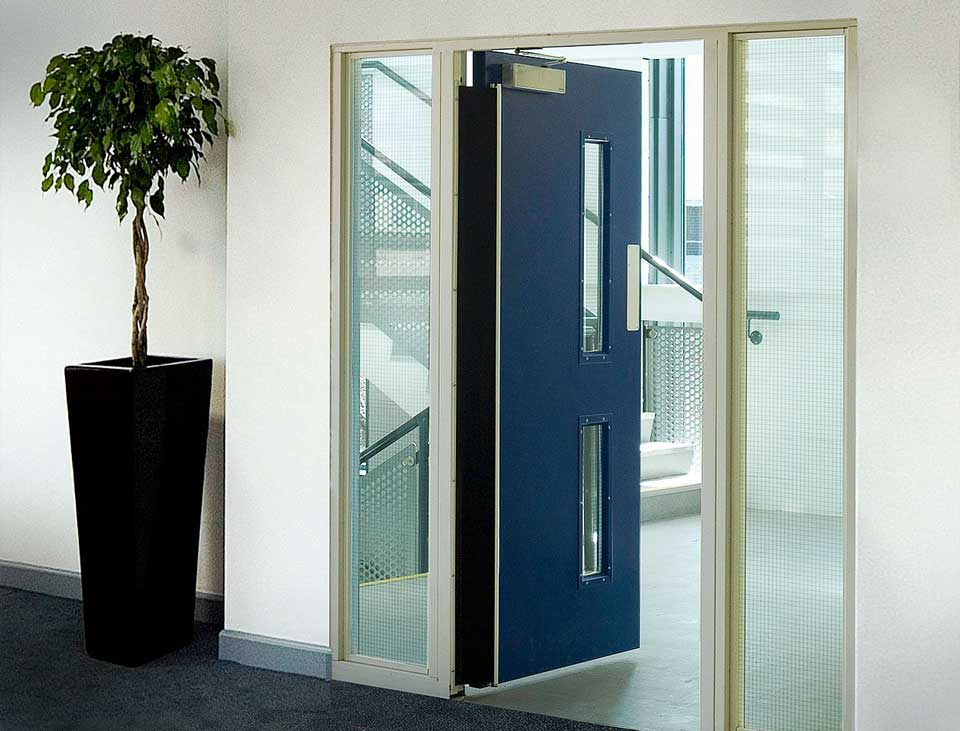 frequent use internal steel door in blue