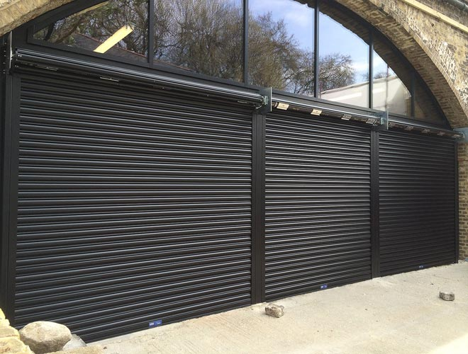 Armourguard C1 roller shutter door in black