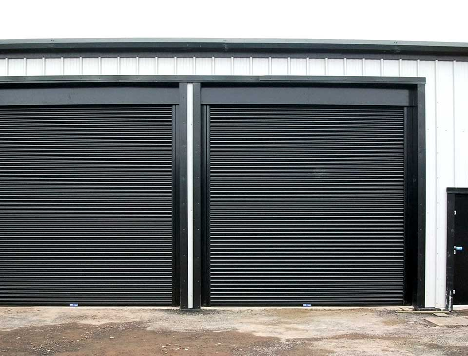 industrial roller doors in black finish