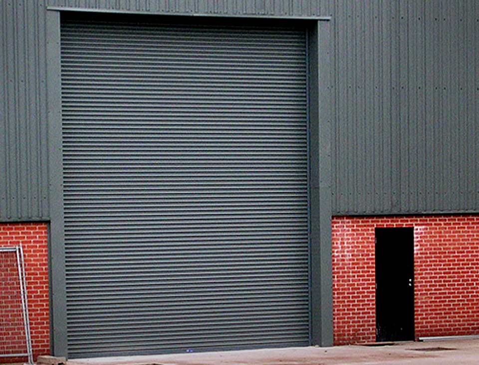 industrial roller shutter with a grey finish