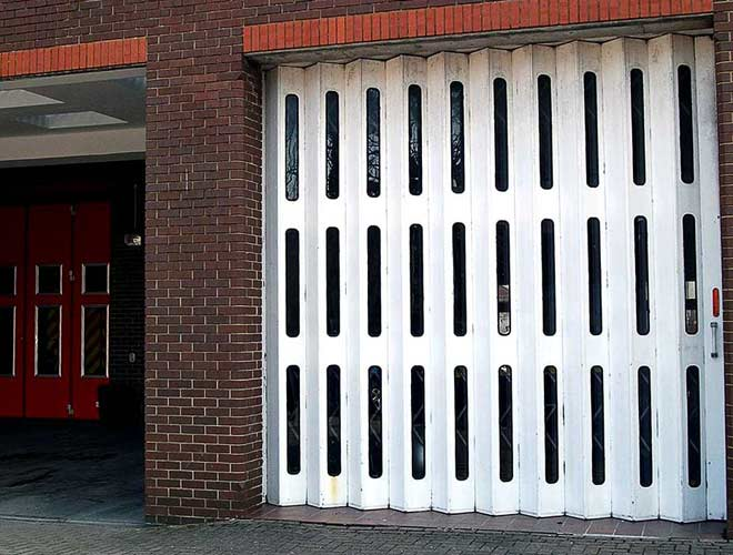 Industrial roller shutters in white