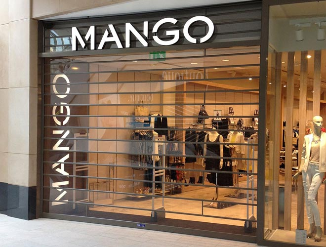 clear guard roller shutters in use at Mango