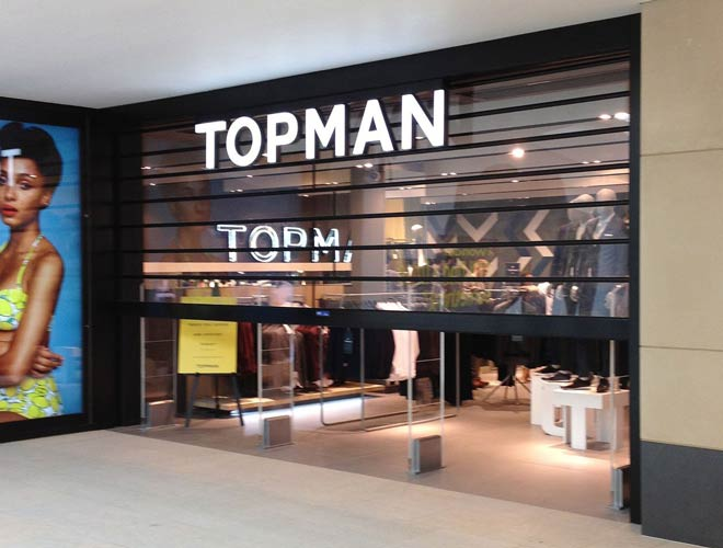 clear-guard roller shutter doors in use at Topman