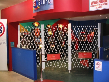 security grille in place at games arcade
