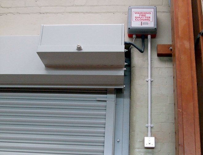 Fireguard roller shutter close up of electron operating system