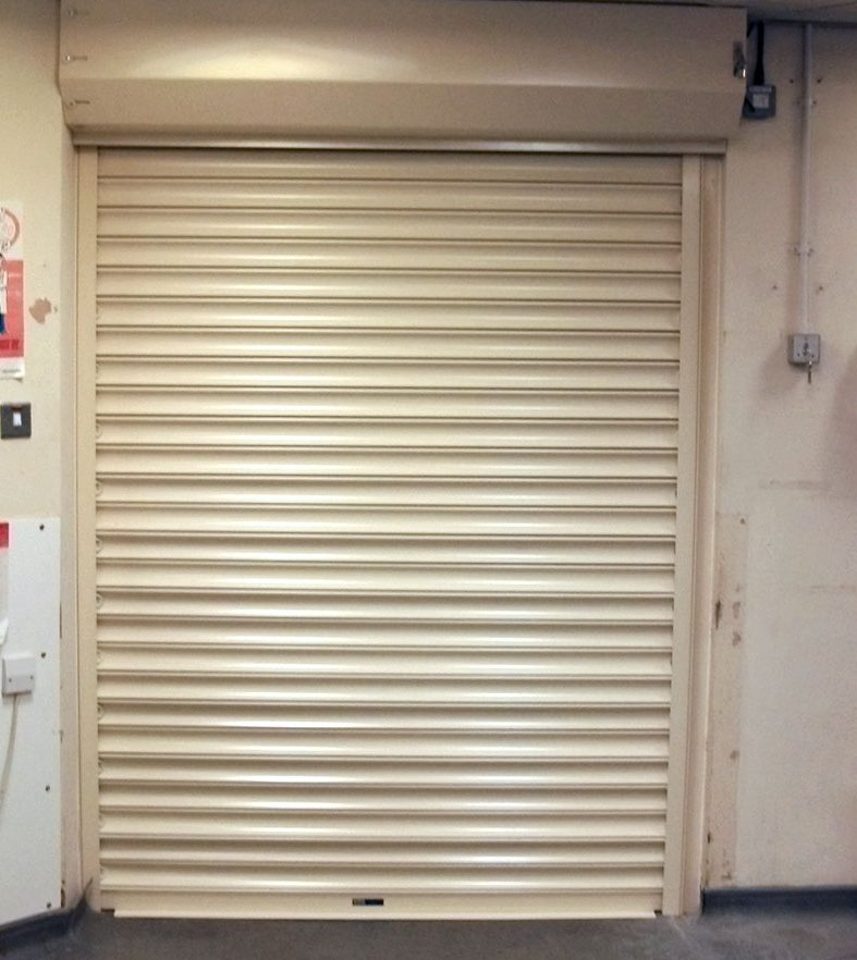 fire shutter door in white