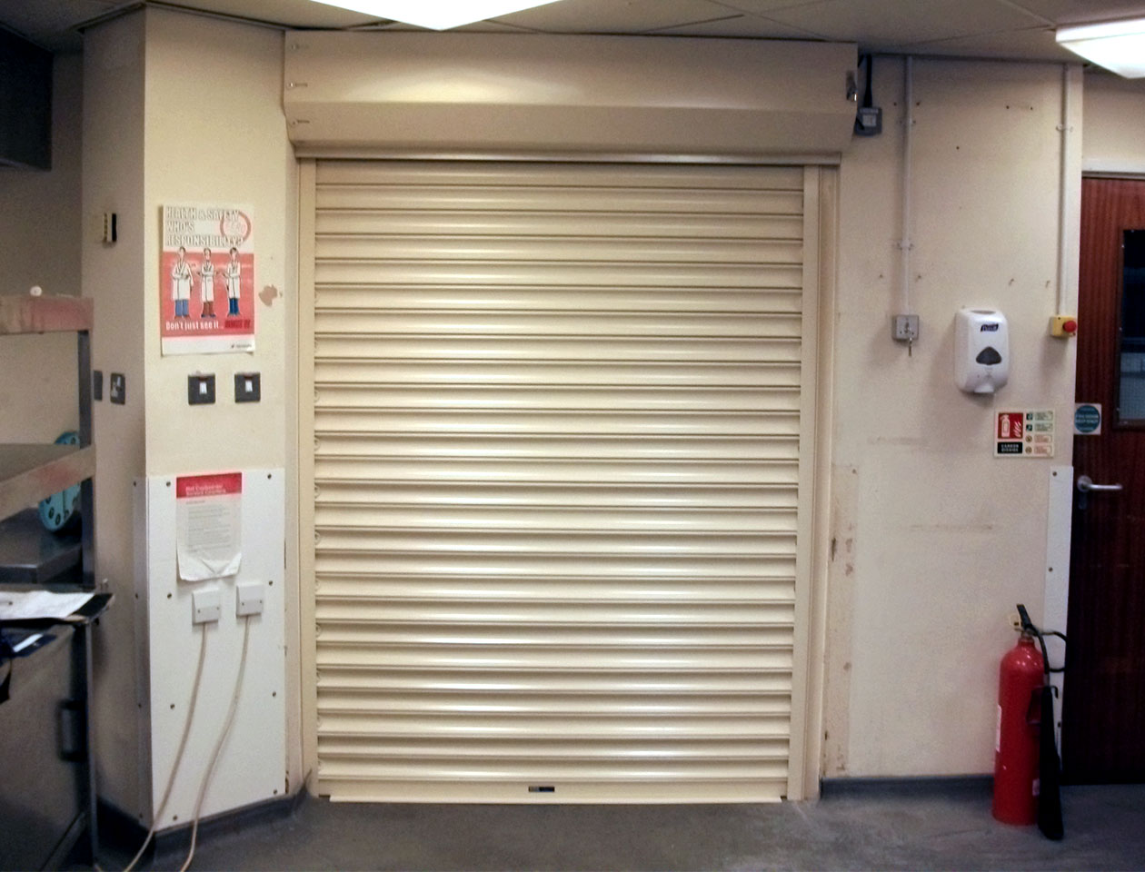 fire shutter door in white