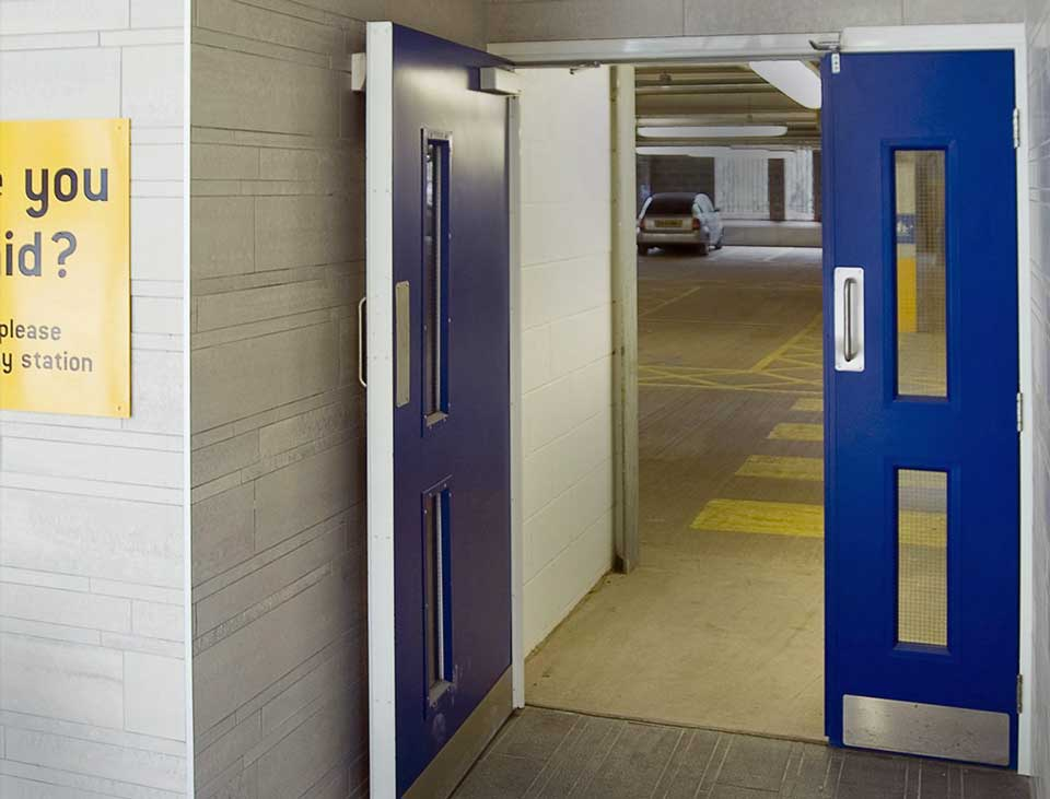 steel fire door in parking complex
