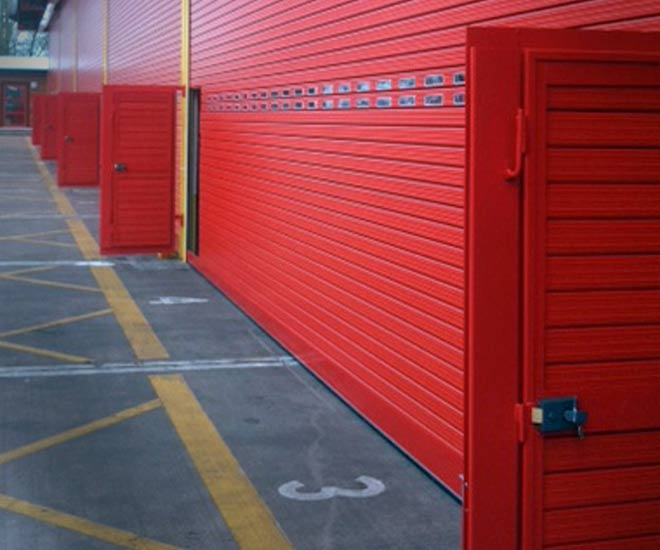 personnel or wicket door in an industrial roller shutter
