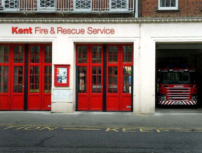 front view from kent fire and rescue service industrial doors