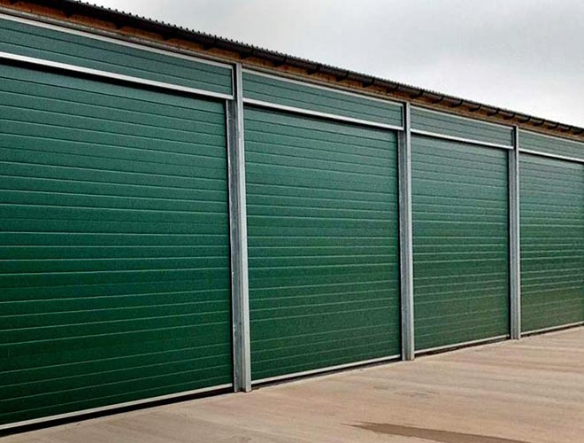 Green industrial door from out s-door type