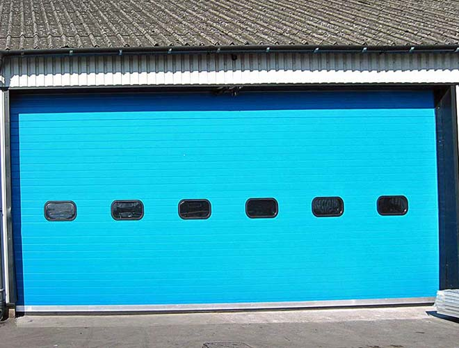 industrial roller shutter door in blue