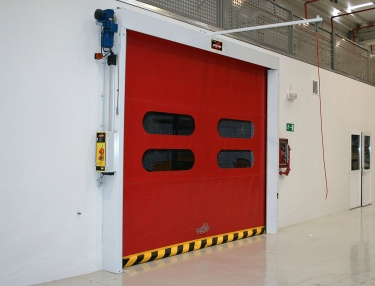 vr high speed door in red finish